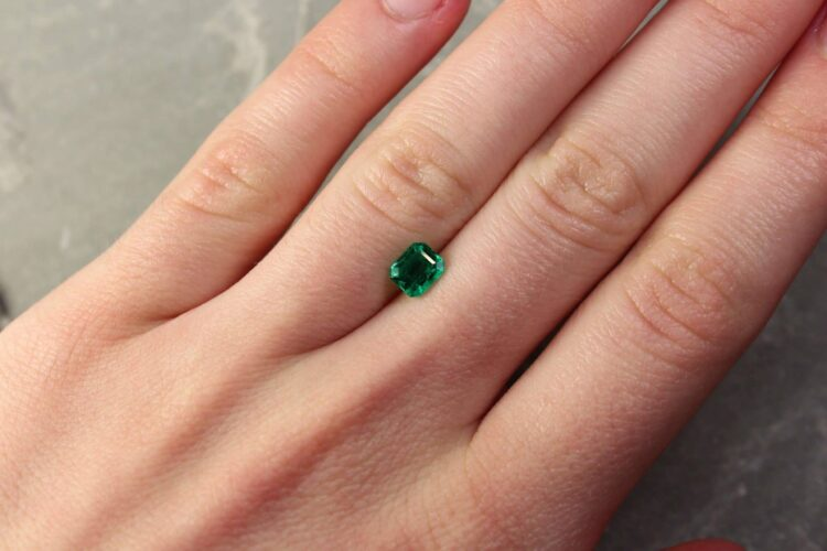 0.60 ct green octagon emerald