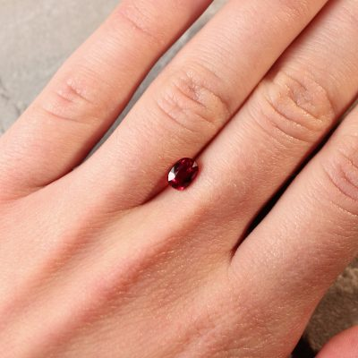 1.02 ct purplish red oval ruby