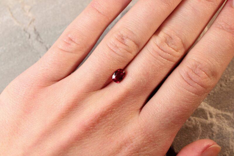 1.02 ct purplish red oval ruby