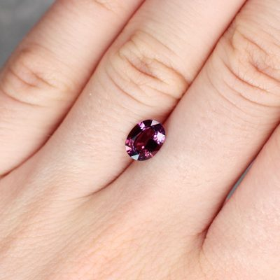 1.40 ct purplish red oval sapphire