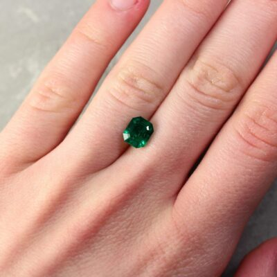 1.62 ct bluish green octagon emerald