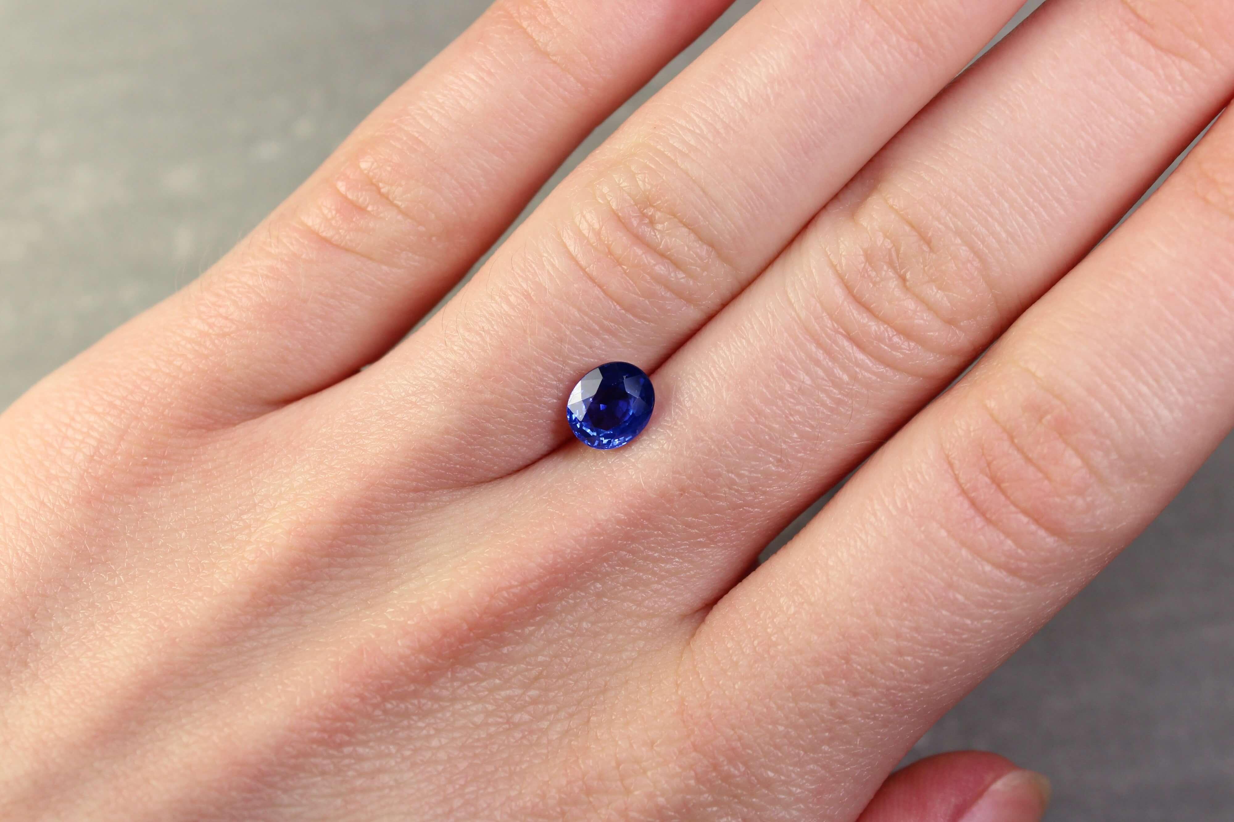 1.63 ct oval blue sapphire