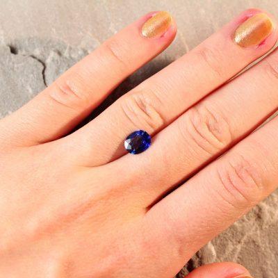 1.63 ct blue oval sapphire