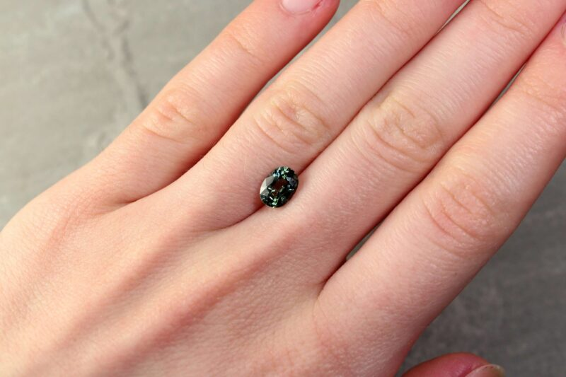 1.65 ct green oval sapphire