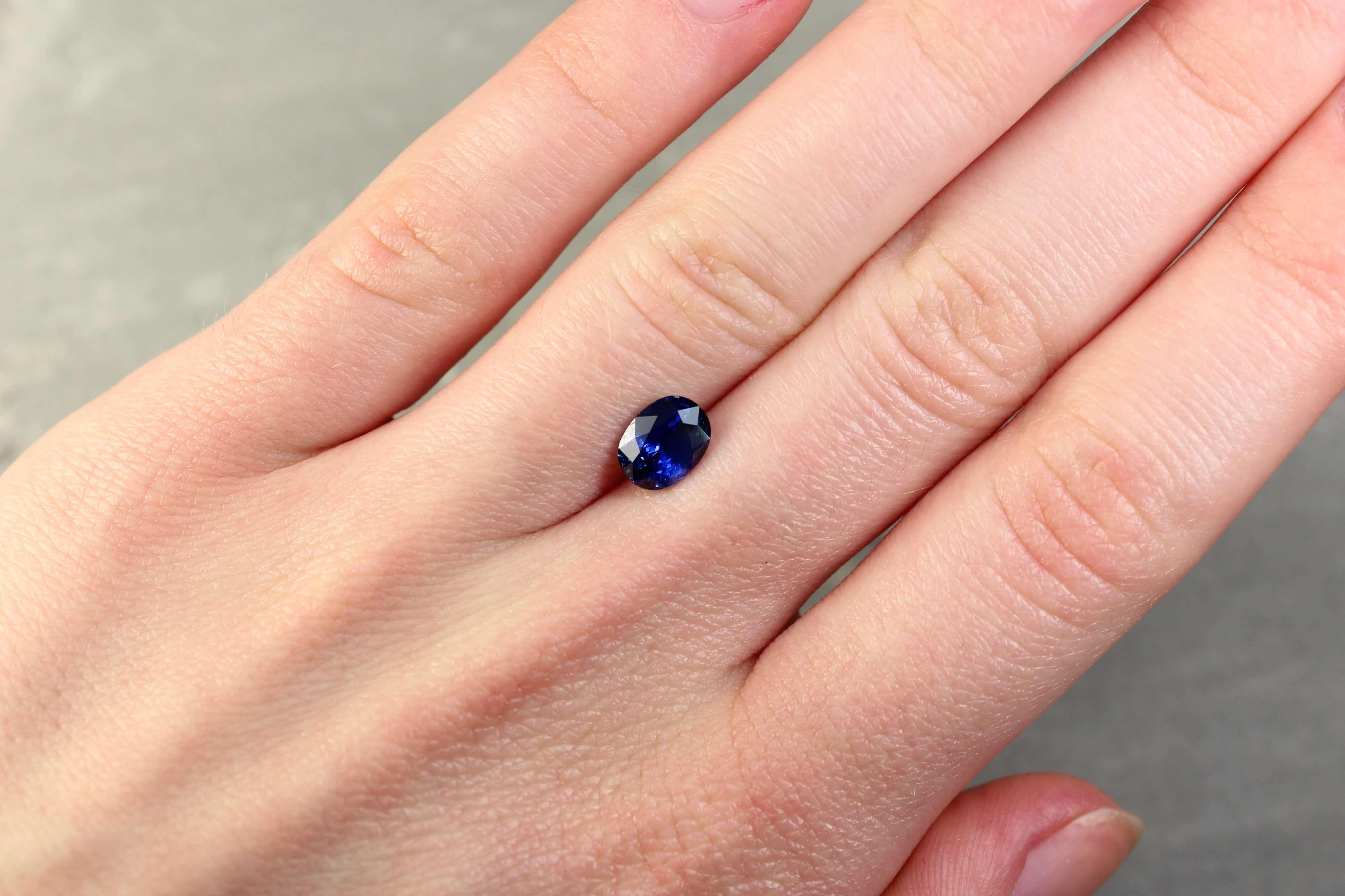 1.76 ct violetish blue oval sapphire