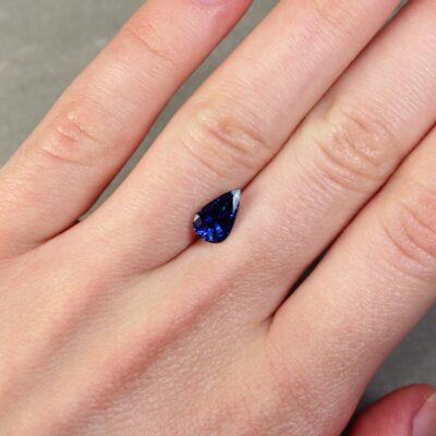1.95 ct blue pear shape sapphire