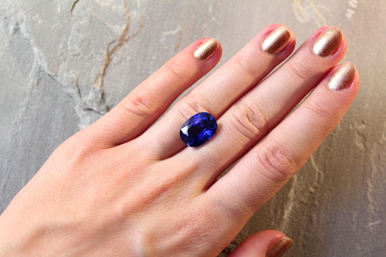 10.29 ct cushion blue sapphire