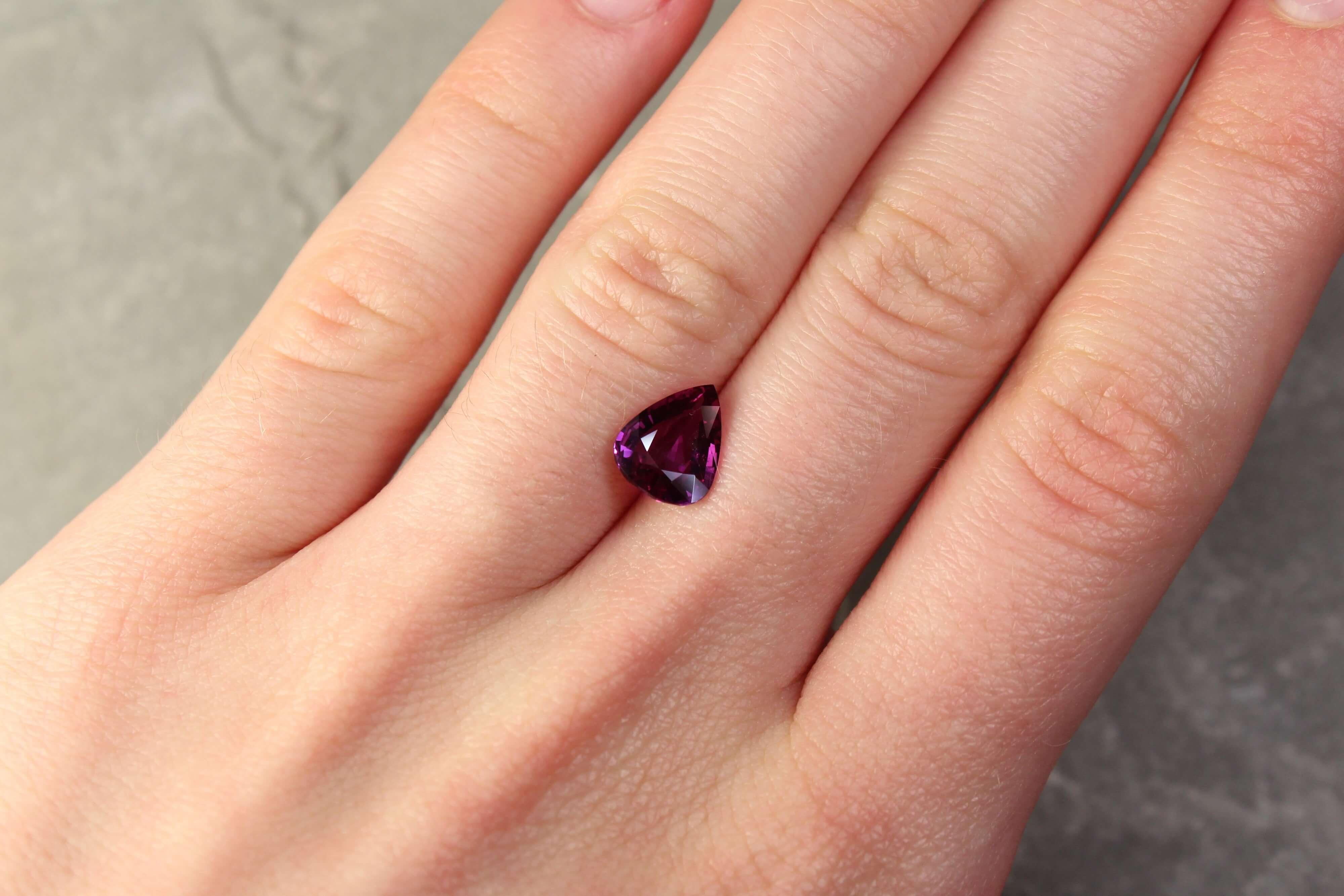 2.01 ct purple pear sapphire