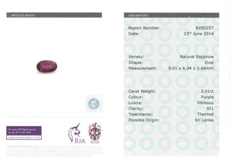 2.01 ct purple oval sapphire