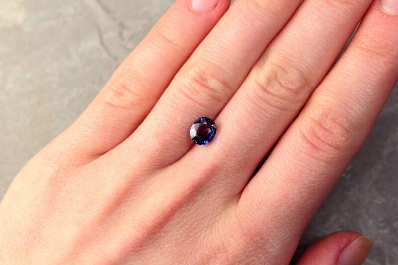 2.02 ct purplish blue oval sapphire