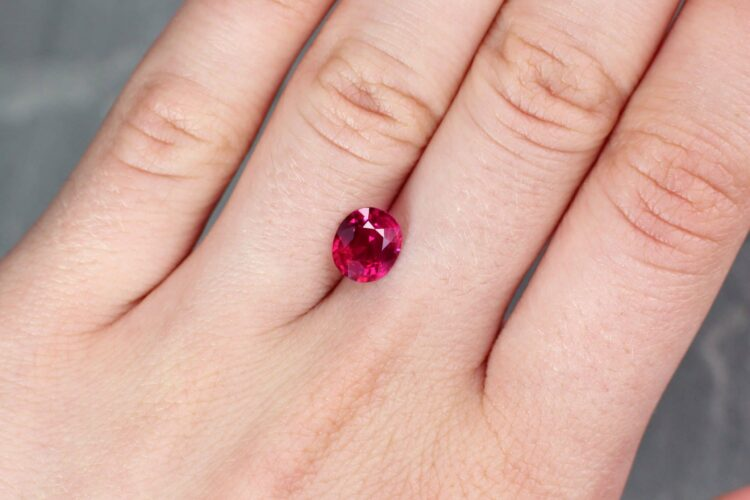 2.05 ct purplish red oval ruby