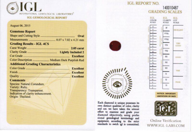 2.05 ct purplish red oval ruby