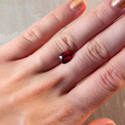 2.07 ct vivid red cushion ruby