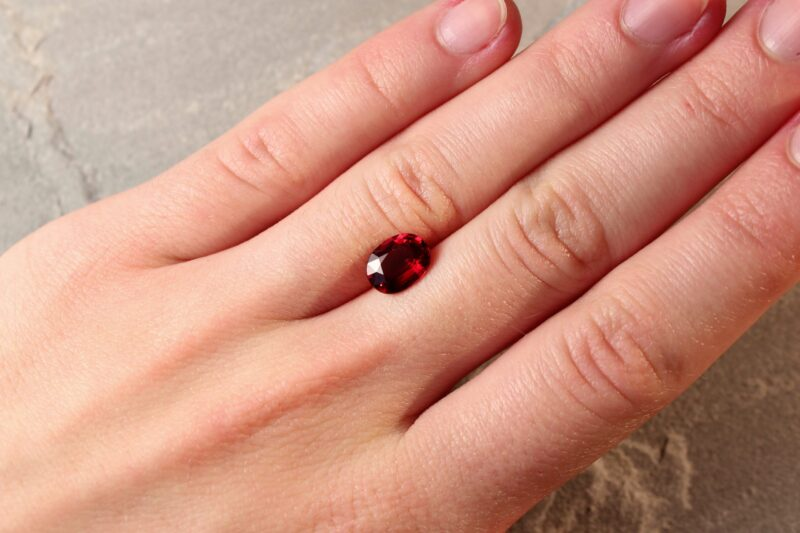 2.09 ct vivid red oval ruby