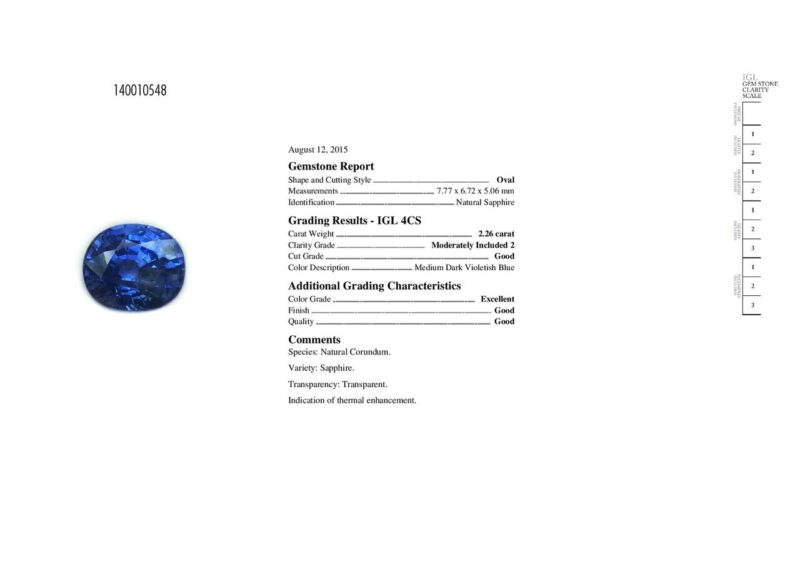 2.26 ct violetish blue oval sapphire