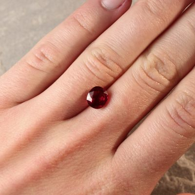 2.33 ct red cushion ruby
