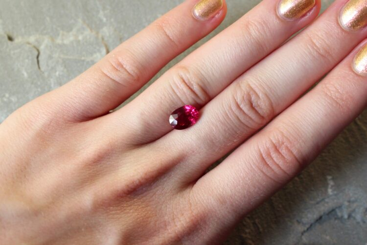 2.57 ct vivid red oval ruby
