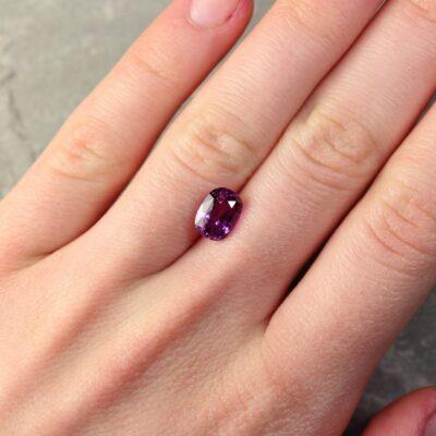 2.67 ct purple cushion sapphire