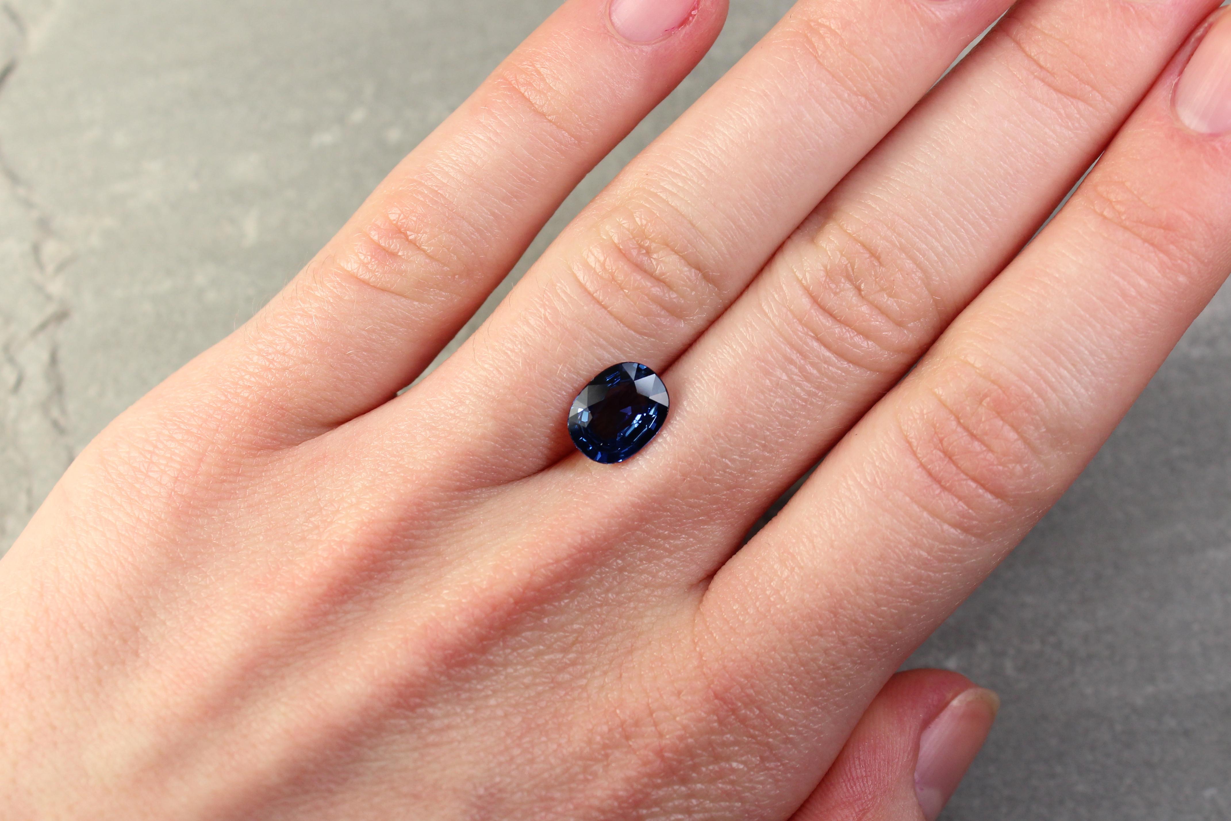 2.71 ct blue oval sapphire