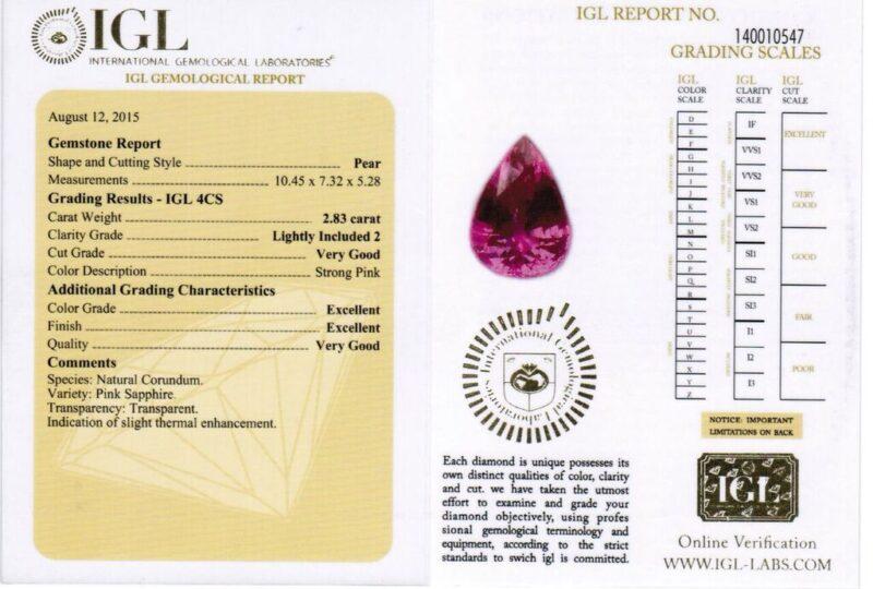 2.83 ct pink pear shape sapphire
