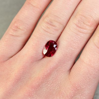3.02 ct vivid red oval ruby
