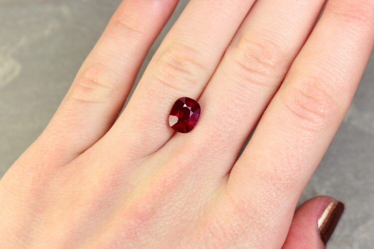 3.04 ct red cushion ruby