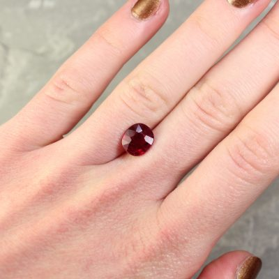 3.06 ct red cushion ruby