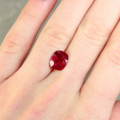 3.26 ct purplish red cushion ruby