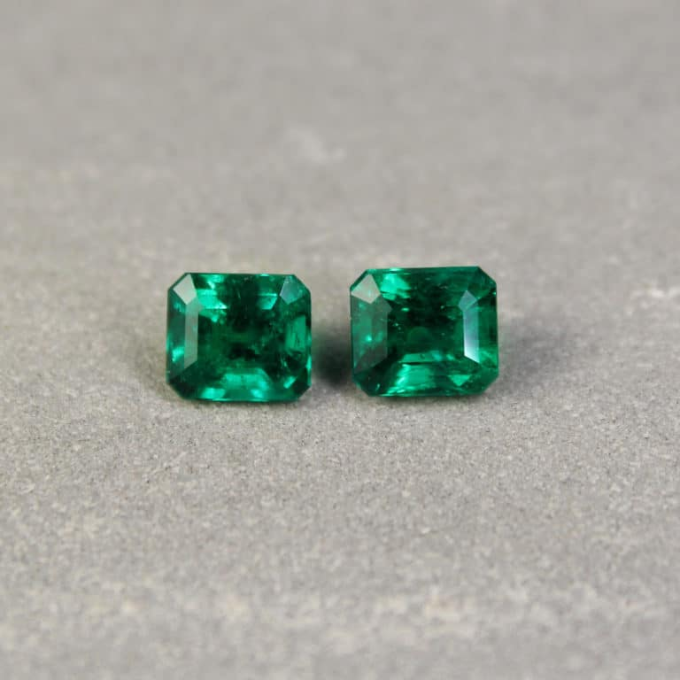 3.57 ct green octagon emerald pair