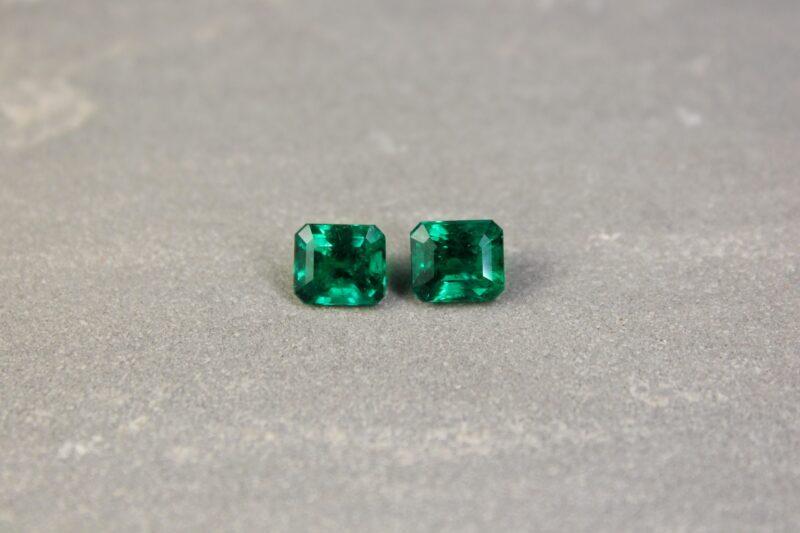 3.57 ct green octagon emerald pair