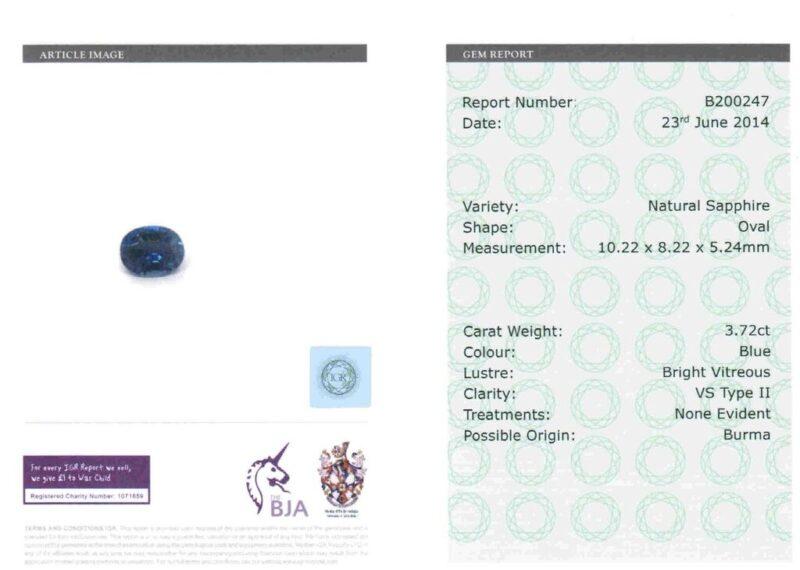 3.68 ct blue oval sapphire