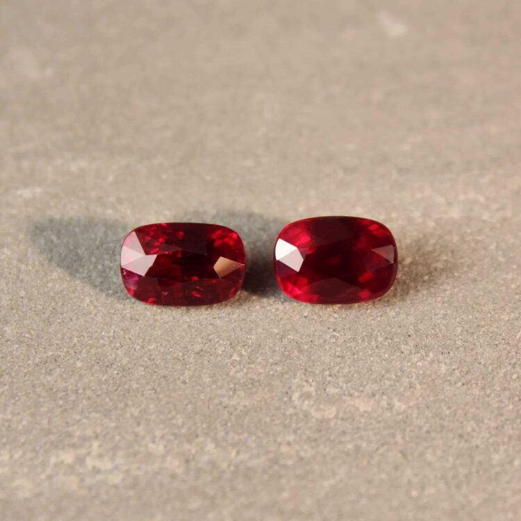 4.05 ct red cushion ruby pair