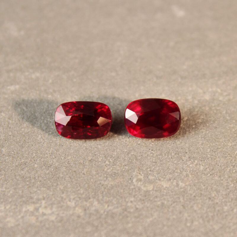 4.05 ct red cushion ruby pair