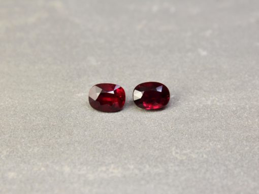 4.15 ct red oval/cushion ruby pair