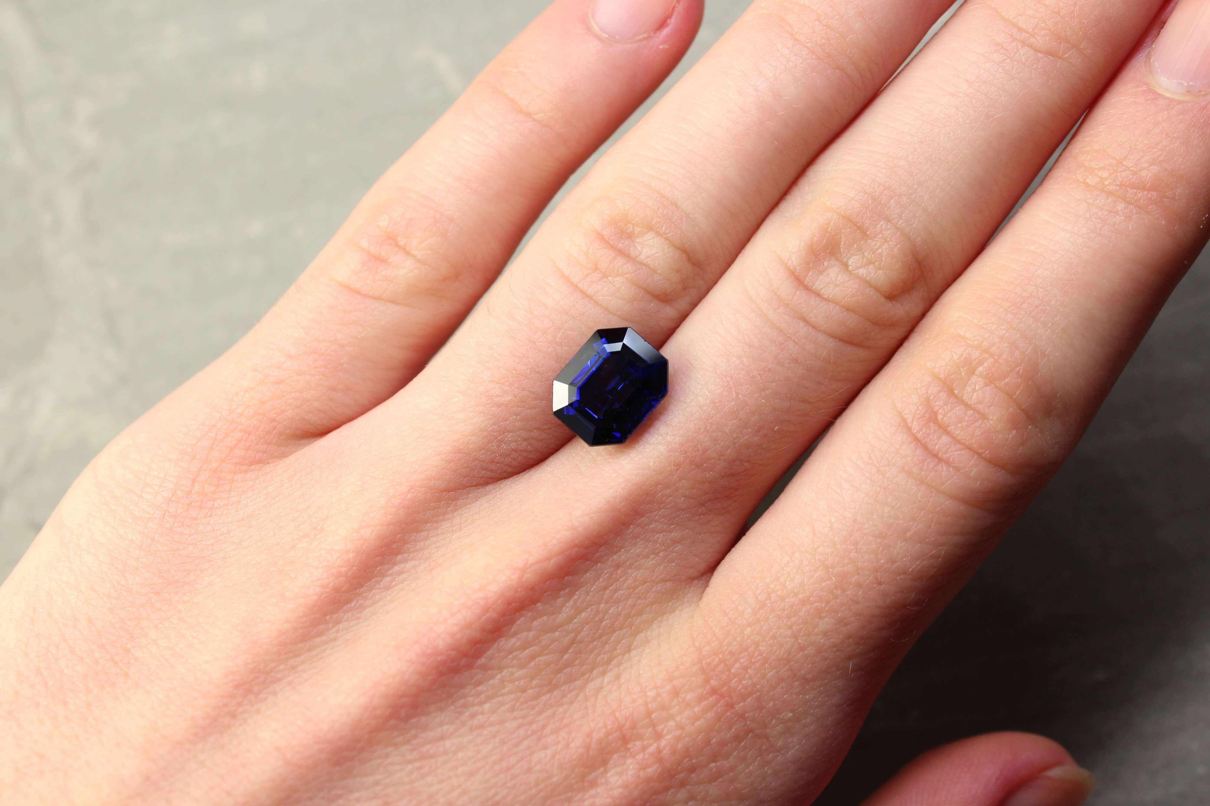 5.11 ct blue octagon sapphire