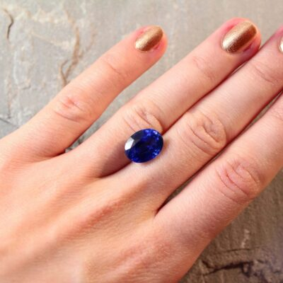 7.11 ct royal blue oval sapphire