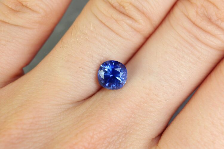 1.69 ct blue cushion sapphire
