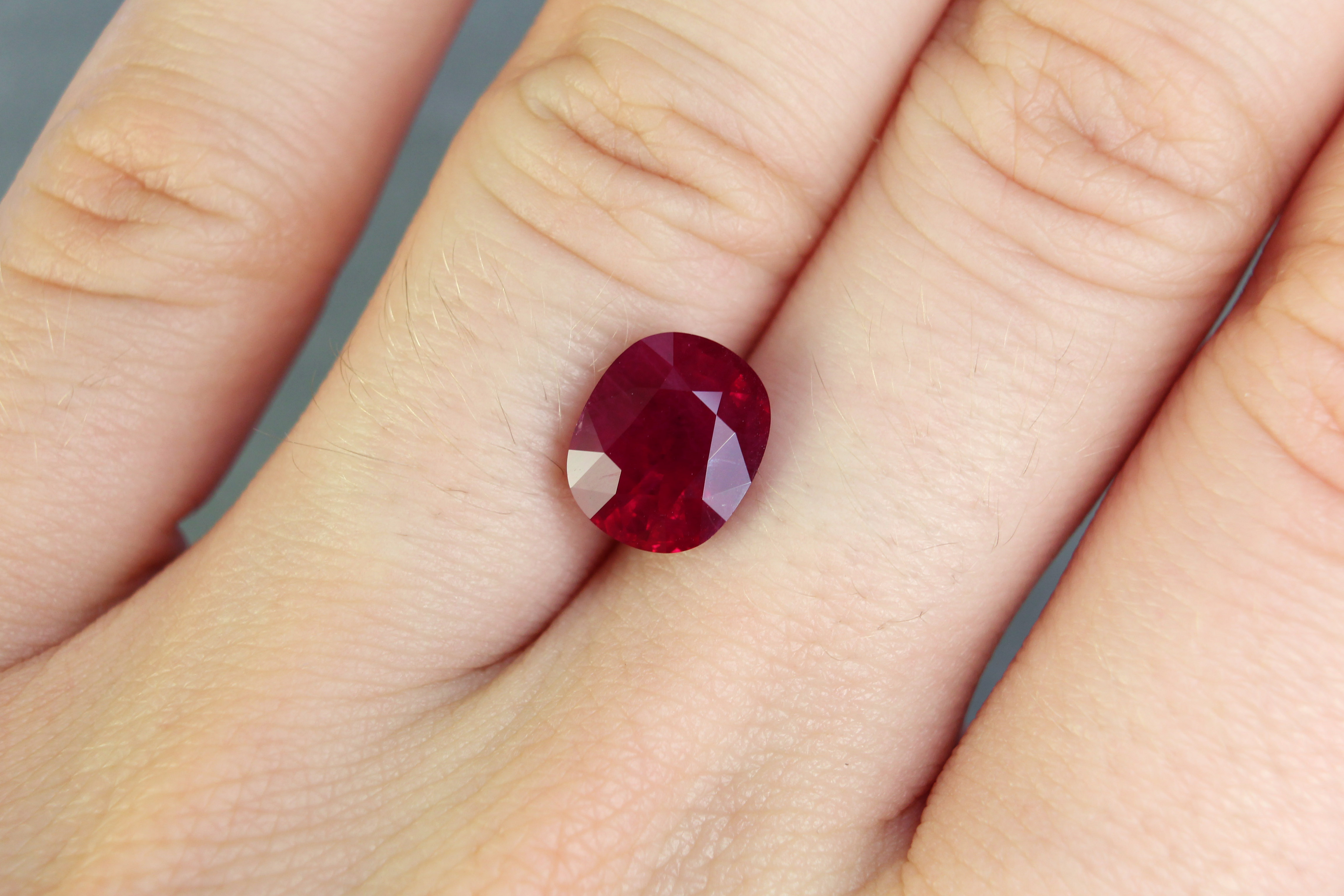 3.78 ct red cushion ruby