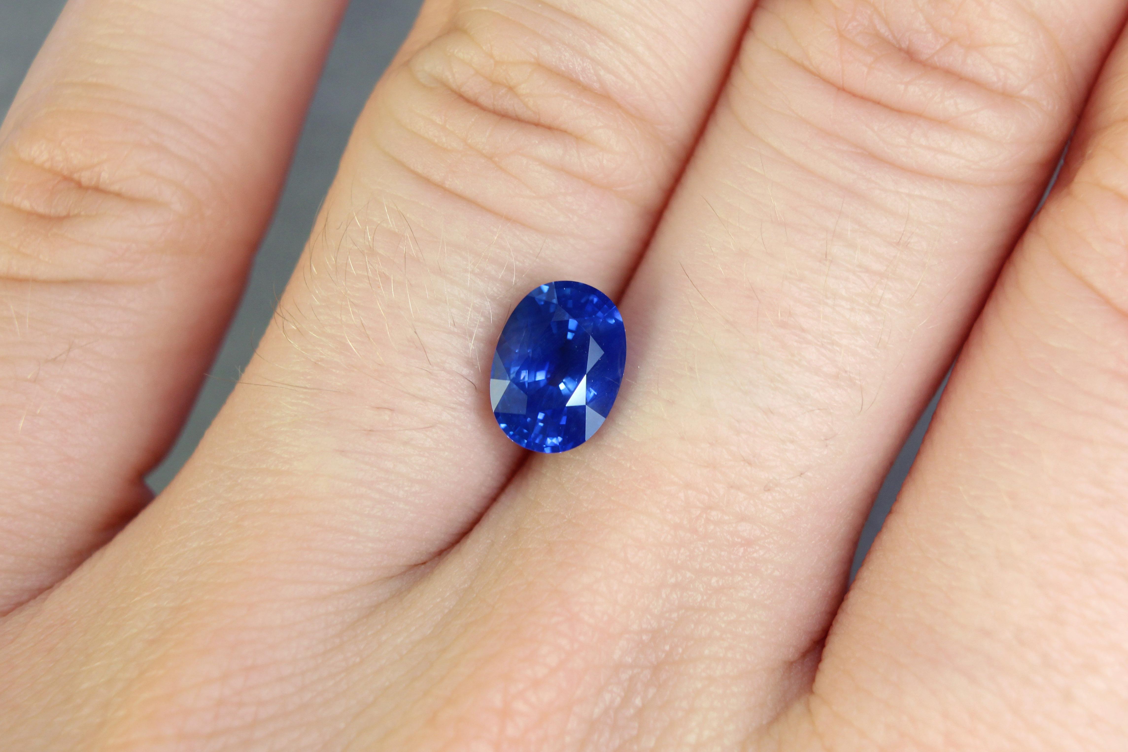 2.11 ct blue oval sapphire