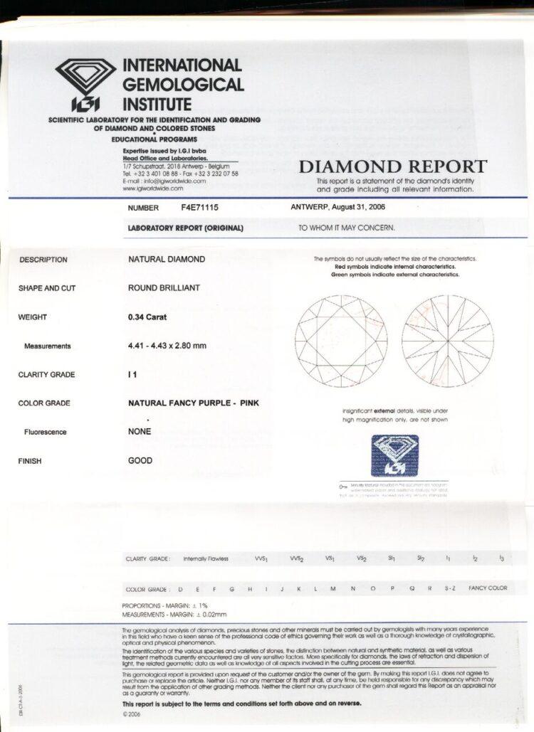 0.34ct purple-pink round diamond