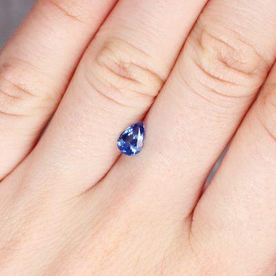 0.84 ct blue pear shape sapphire