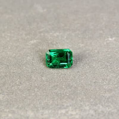 0.87 ct bluish green octagon emerald