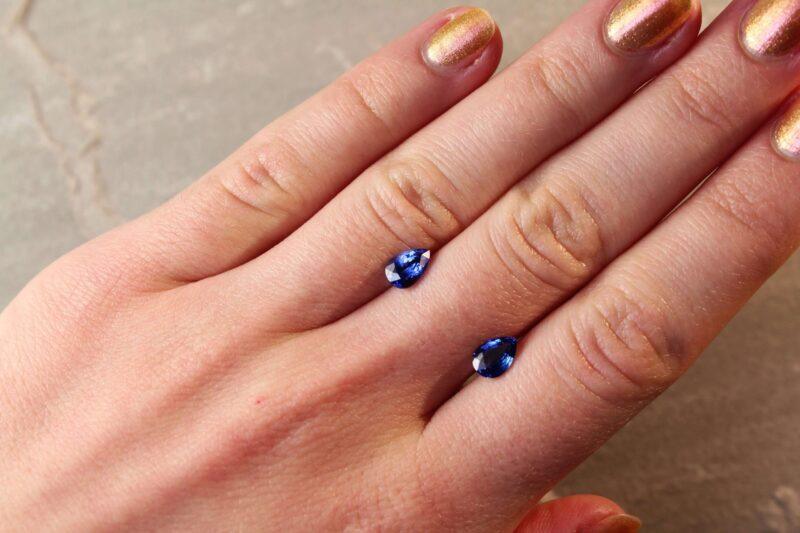 1.92 ct blue pear shape sapphire pair