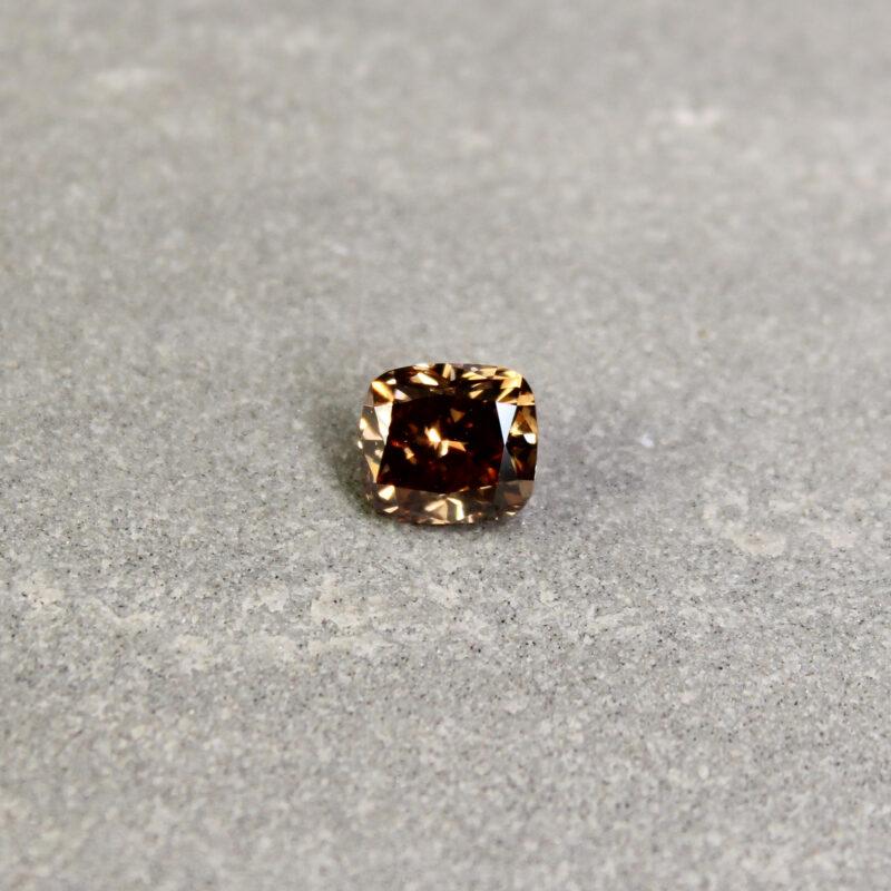 1.02 ct brown cushion diamond