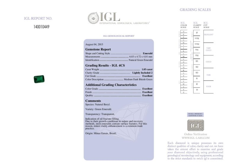 1.03 ct octagon green emerald