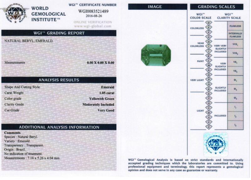 1.05 ct emerald cut green emerald
