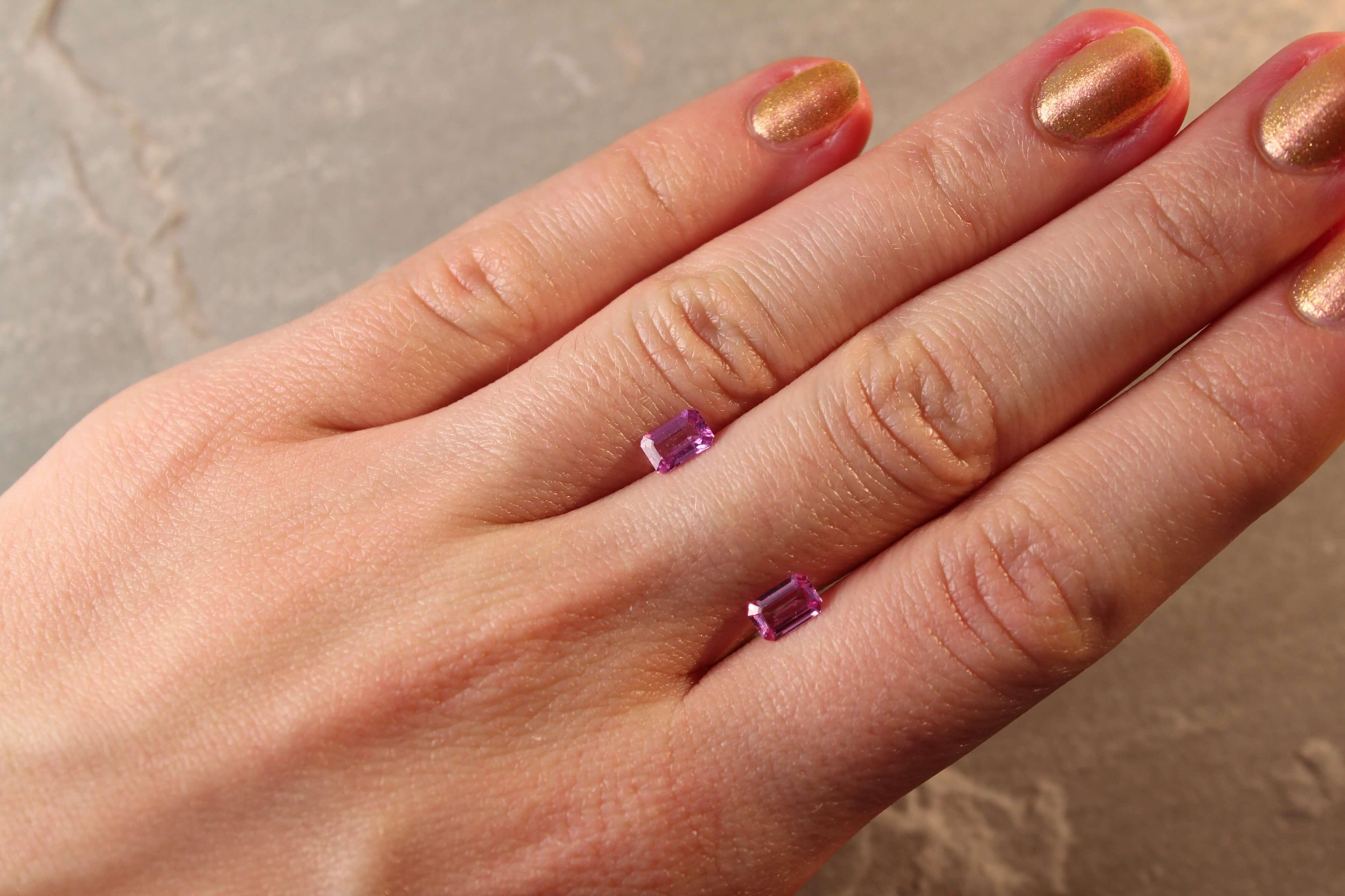 1.15 ct pink octagon sapphire pair