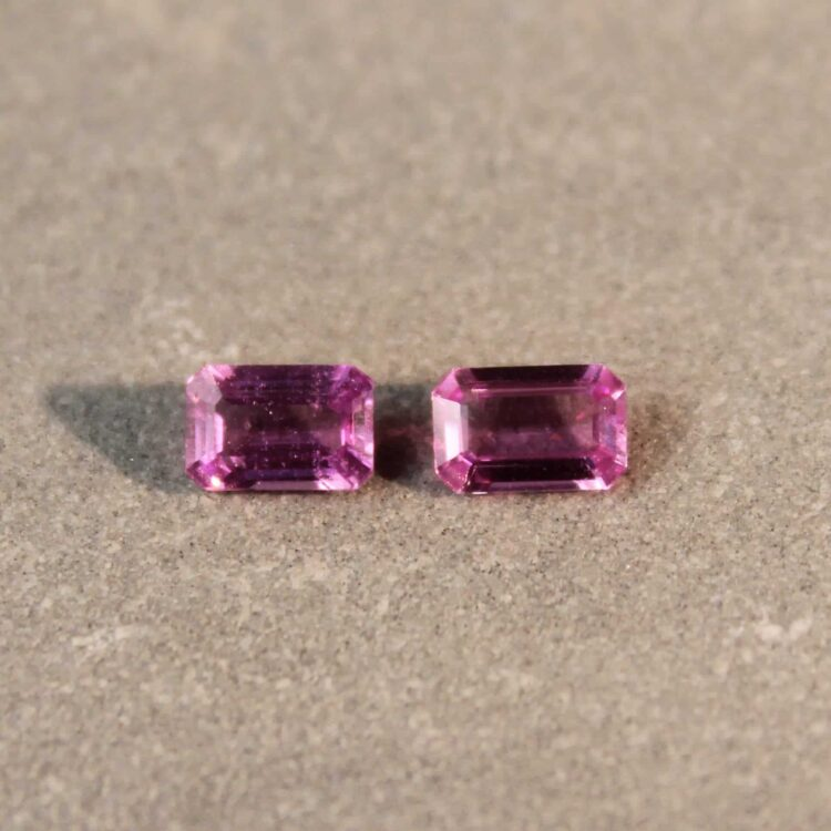 1.15 ct pink octagon sapphire pair