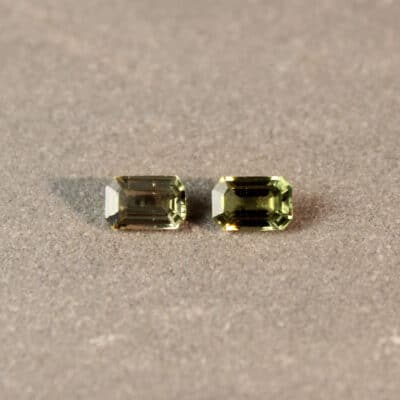 1.18 ct green octagon sapphire pair
