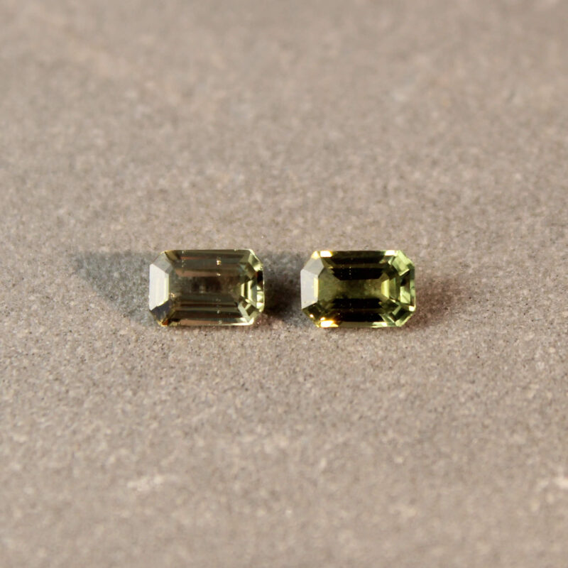 1.18 ct green octagon sapphire pair
